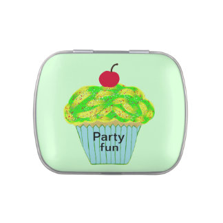 Party-Spaß-Grün-Gelb-Zuckerguss besprüht Kirsche Vorratsdose