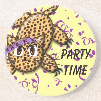 Party-Zeit-niedliche Leopard-Untersetzer Sandstein Untersetzer