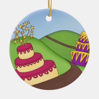 Party-Zeit - wunderliche Kuchen! Rundes Keramik Ornament