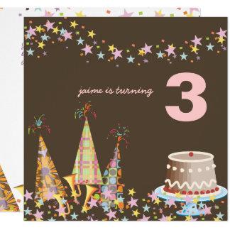 Partyhüte, Kindergeburtstags-Party Quadratische 13,3 Cm Einladungskarte