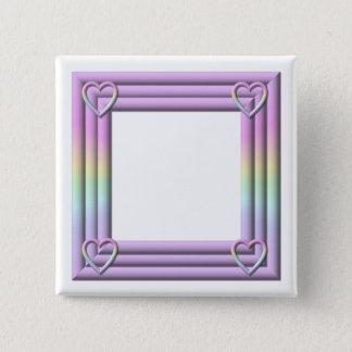 """Pastell""""3-D"""" Feld mit Herzen Quadratischer Button 5,1 Cm"""