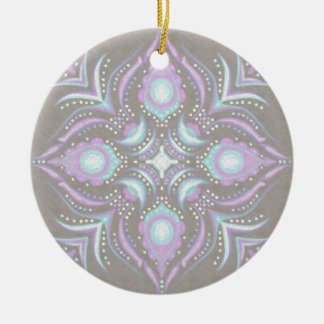 Pastell auf konkreter Straßen-Mandala Rundes Keramik Ornament