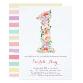 Pastell-Frühlings-Sommer-lädt 1. Geburtstags-Party Karte