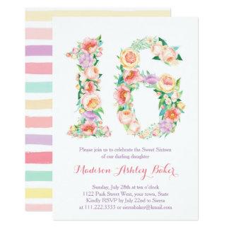 Pastellblumenstreifen-16. Geburtstag-Einladungen Karte