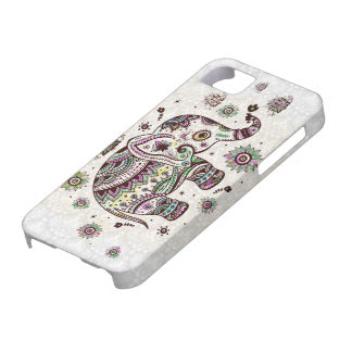 PastellfarbRetro Blumen u. -elefant Etui Fürs iPhone 5