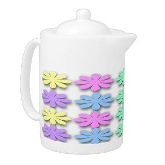 Pastellgänseblümchen-Muster-Tee-Topf
