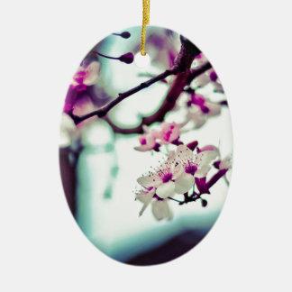 Pastellkirschblüten-Foto Keramik Ornament