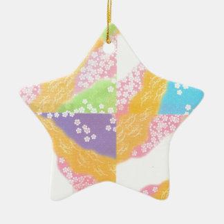 Pastellkirschblüten Keramik Stern-Ornament