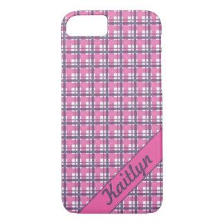 Pastelllila mit süßem rosa Tartanmuster iPhone 8/7 Hülle