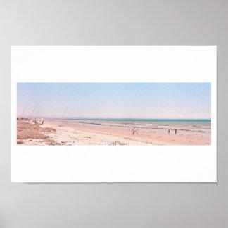 Pastellrosa-blaues Strand-Ozean-Seegehendes Plakat