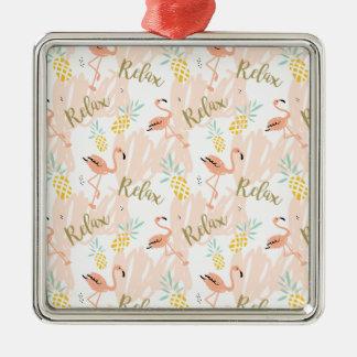 Pastellrosa-Flamingo entspannen sich Druck Silbernes Ornament