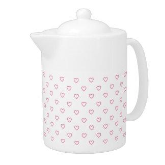 Pastellrosa-Herz-Tupfen-Muster-Teekanne