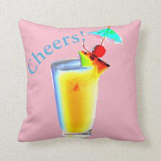 Pastellrosa-Regenschirm-Cocktail Kissen