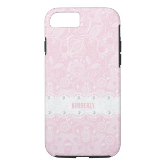 Pastellrosa-und Weiß-Spitze u. weiße Perlen iPhone 8/7 Hülle