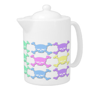 Pastellschädel-Muster-Tee-Topf