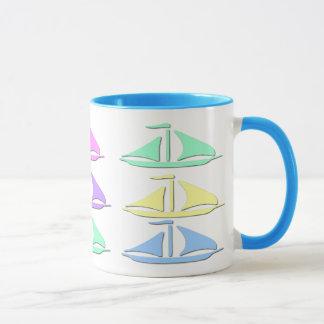 Pastellsegel-Boots-Muster-Kaffee-Tassen Tasse