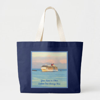 Pastellsonnenaufgang mit dem Kreuzfahrt-Schiff Jumbo Stoffbeutel