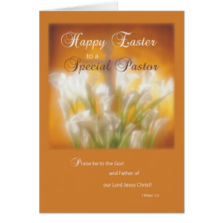 Pastor-glückliche Osterlilien mit Kreuz Karte