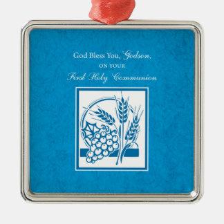 Patensohn-erste Kommunion, Weizen, Trauben blau Quadratisches Silberfarbenes Ornament