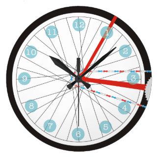 Patriotische Fahrrad-Rad-Uhr im Rot, im Weiß und Große Wanduhr