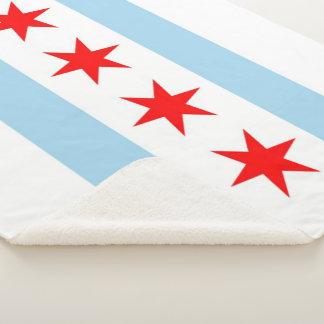 Patriotische Sherpa Decke mit Flagge von Chicago Sherpadecke