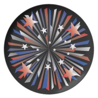 Patriotische Stern-Explosion Teller