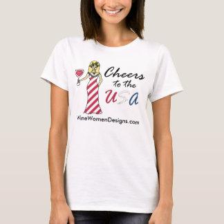 """Patriotische Wein-Göttin """"Beifall in die USA"""" T-Shirt"""