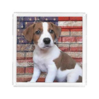 Patriotischer Jack-Russell-Terrier Acryl Tablett