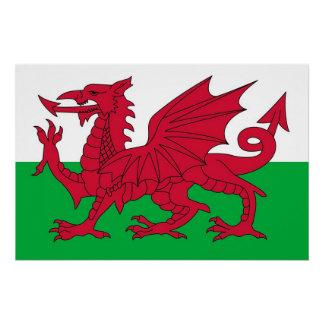 Patriotisches Plakat mit Flagge von Wales Poster