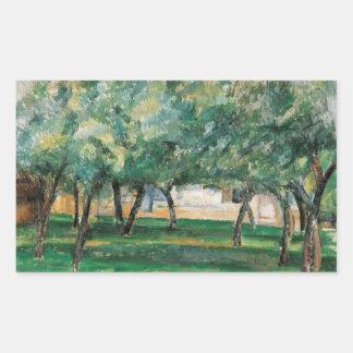 Paul Cezanne - Bauernhof in Normandie Rechteckiger Aufkleber