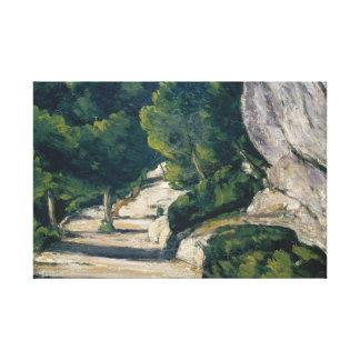 Paul Cezanne - Landschaft. Straße mit Bäumen in Leinwanddruck