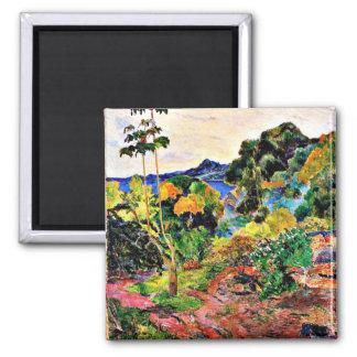 Paul Gauguin-Kunst: Martinique-Landschaft Quadratischer Magnet