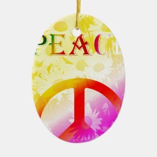 Peace Ovales Keramik Ornament