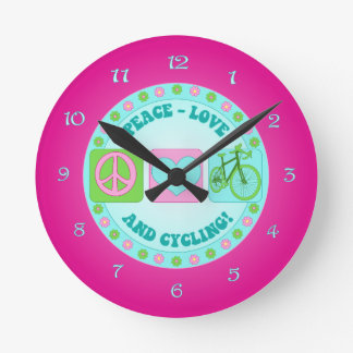 PeaceLoveCycleClock.png Runde Wanduhr