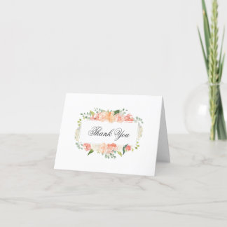 Peach and Pink Watercolor Floral Frame Thank You Dankeskarte