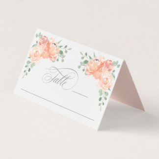 Peach and Pink Watercolor Floral Table Platzkarte