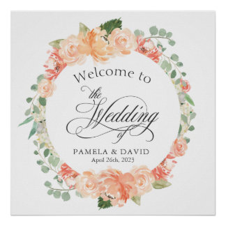 Peach and Pink Watercolor Floral Welcome Sign Poster