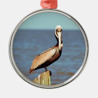 Pelikan 4.jpg Louisianas Brown Rundes Silberfarbenes Ornament