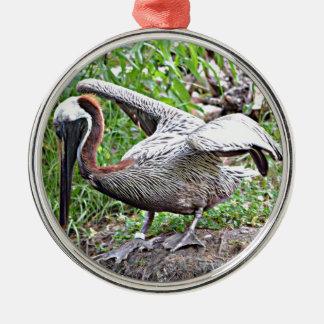 Pelikan Louisianas Brown Rundes Silberfarbenes Ornament
