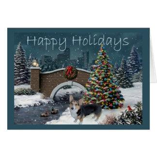 Pembroke-Walisercorgi-Weihnachtskarten-Abend Karte
