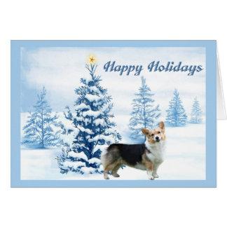 Pembroke-Walisercorgi-Weihnachtskarten-Blau-Baum Karte