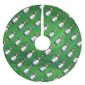 Penguin im Weihnachtsmannmütze-Muster auf Grün Polyester Weihnachtsbaumdecke