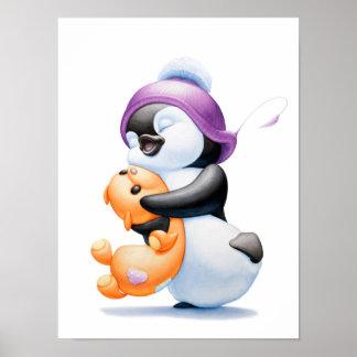 Penguin-und Teddy-Bärn-Kinderzimmer-Druck Poster