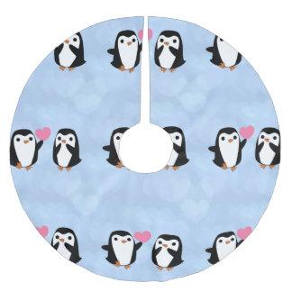 Penguins in der Liebe Polyester Weihnachtsbaumdecke
