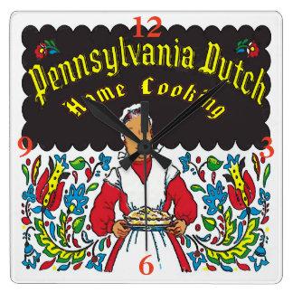 Pennsylvania-Holländer, Zuhause-Kochen Quadratische Wanduhr