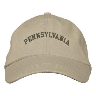 Pennsylvania stickte grundlegendes Kappen-Olivgrün Bestickte Baseballkappe