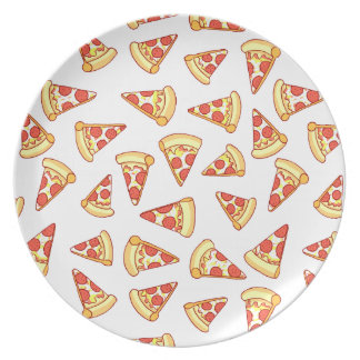 Pepperoni-Pizza-Scheibe, die Muster-Platte Flacher Teller