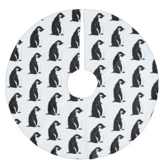Perfekter Pinguin-Baum-Rock Polyester Weihnachtsbaumdecke