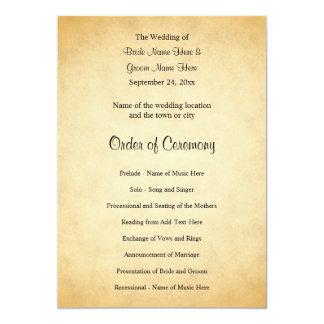 Pergament-Muster-Entwurfs-Hochzeits-Programm 12,7 X 17,8 Cm Einladungskarte