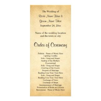 Pergament-Muster-Entwurfs-Hochzeits-Programm Werbekarte